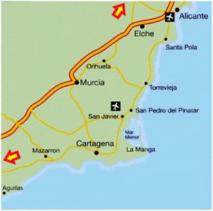 Map Of Spain La Manga.Towns And Villages In Murcia 4everspain Spanish Information