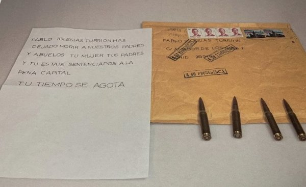 Spanish minister and leftist leader receive letters with death threats and bullets